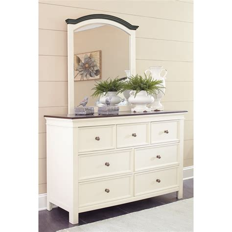 signature design by ashley holloway dresser with mirror atg stores signature design by ashley woodanville cottage style