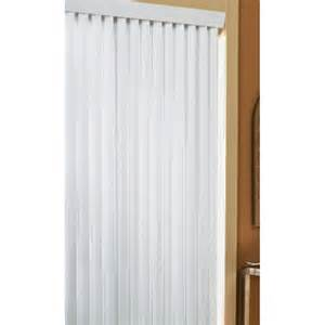 project source white vinyl 3 5 in slat light filtering cordless door window vertical blinds