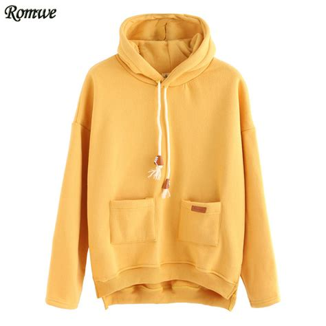 romwe yellow slit side high low hooded sweatshirt autumn ladies casual pullovers women long