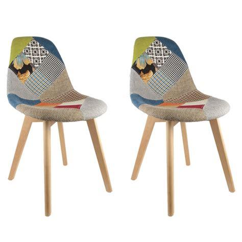 Chaise Scandinave by Lot De 2 Chaises Design Scandinave Patchwork Color 233