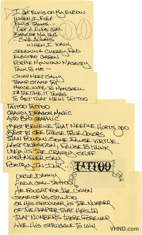 tattoo lyrics van halen david lee roth s hand written lyrics to van halen s