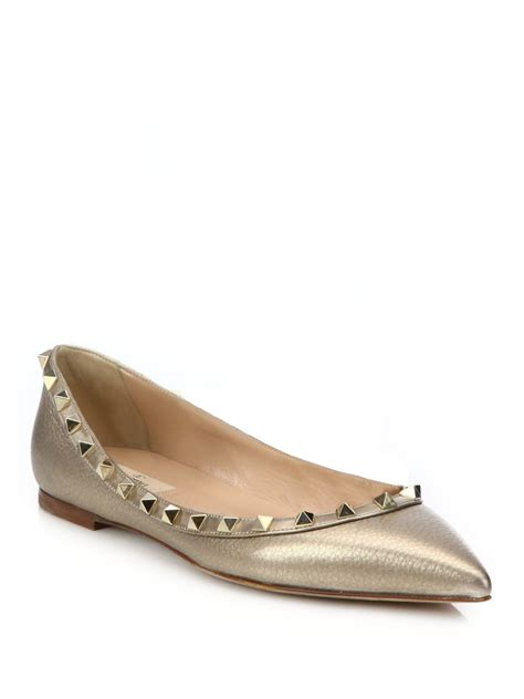 Flats Shoes Valentino 266 4 lyst valentino metallica studded leather flats in metallic