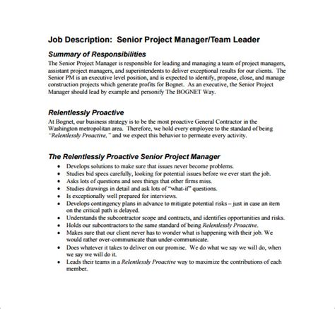 senior project template project manager description template 10 free word