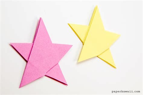5 Pointed Origami - simple origami 5 point tutorial 1 sheet paper kawaii
