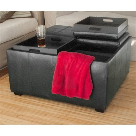 Leather Ottoman With Tray Top Leather Ottoman With 4 Tray Tops Storage Bench Coffee Table Black Leather New Furniturendecor