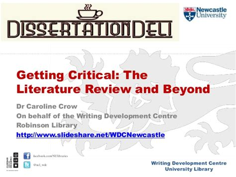 Critical Literature Review Define by Getting Critical The Literature Review And Beyond