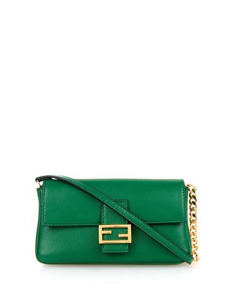 Fendi Micro 2face Baguette fendi micro baguette leather cross bag in green lyst