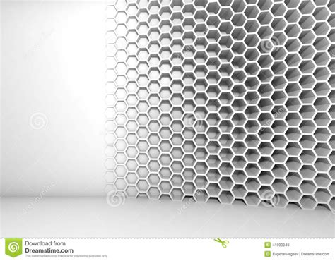 abstract white  interior  honeycomb pattern stock