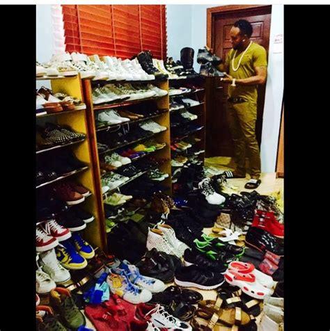 kcee shows his shoe collection bellanaija