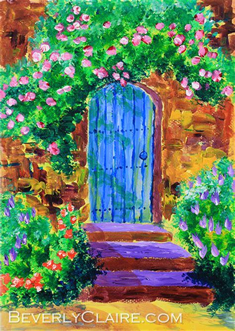acrylic painting door blue wooden door to secret garden painting beverly