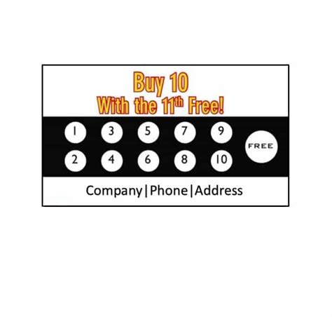 Card Template Buy by 30 Printable Punch Reward Card Templates 101 Free