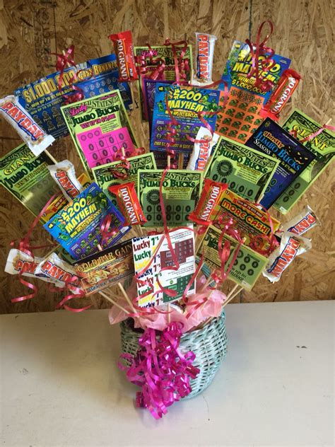 Birthday Themed Raffle Basket | lottery ticket gift basket i made for my mom s 64th