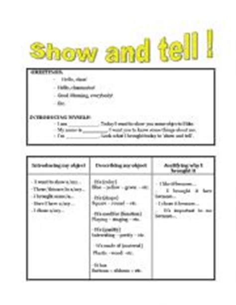Show Don T Tell Worksheet by Show And Tell Kindergarten Worksheet Show Best Free