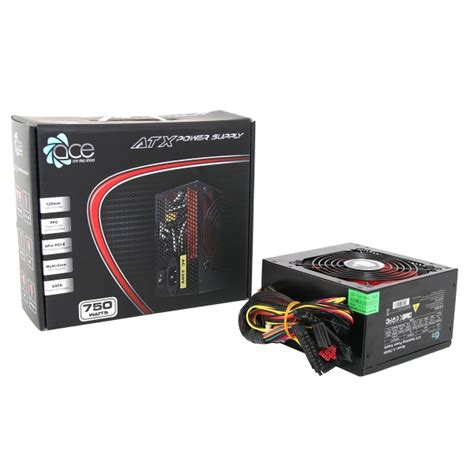 alimentatore pc gaming ace 750w black atx gaming pc psu power supply 120mm
