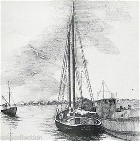 boat ride drawing artist joan kanwisher vintage b w drawing of boats town