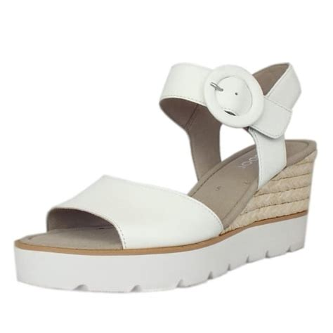 gabor obsession s modern white leather wedge