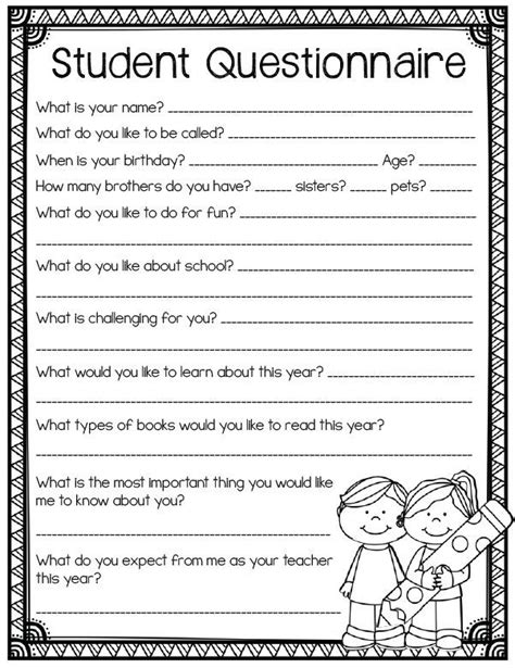 Printable Questionnaire For Students | student questionnaire back to school printables for