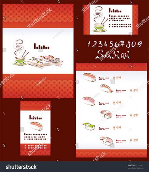 japanese menu card template template sushi menu business card stock vector 42295165