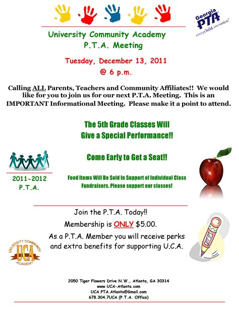 Invitation Letter For Pta Meeting Community Academy December P T A Meeting Tickets Tue Dec 13 2011 At 6 00 Pm
