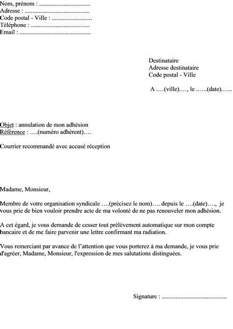 Exemple De Lettre D Invitation Des Syndicats mod 232 le de lettre de r 233 siliation d une adh 233 sion 224 un