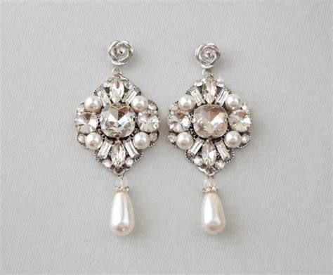 pearl bridal earrings swarovski pearls wedding earrings