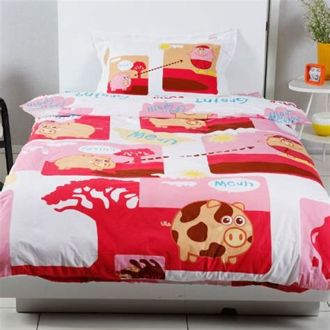 cartoon happy pig duvet cover set queen sheet 4pc cute