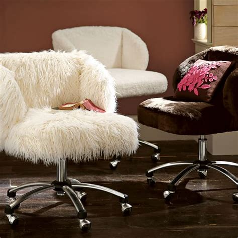 fur wingback desk chair ivory furlicious wingback desk chair pbteen