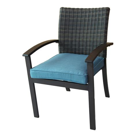 patio chair shop allen roth atworth 4 count brown wicker patio dining chairs with peacock blue cushions at