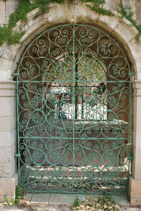 garden decoration cyprus green wrought iron gate in the city of nicosia
