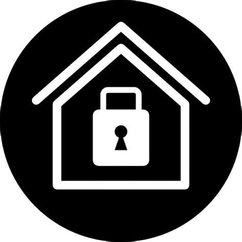 home security symbol of a house with a locked padlock