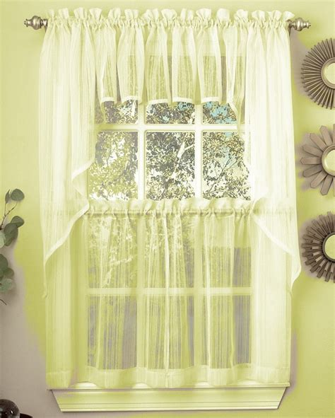 Harmony Sheer Kitchen Curtain Pale Yellow Linens4less Com Yellow Kitchen Curtains
