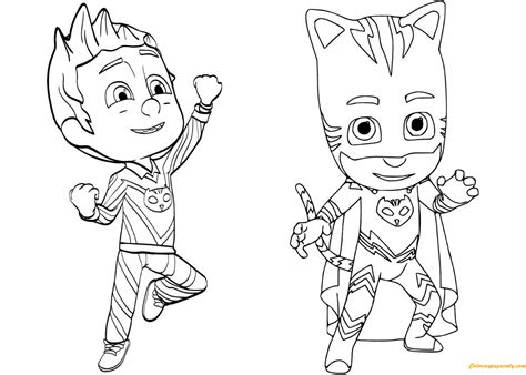 pajama connor is catboy from pj masks coloring page