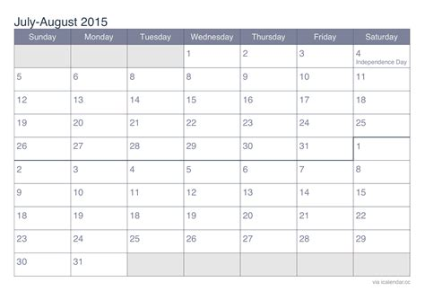 printable weekly calendar july 2015 july and august 2015 printable calendar icalendars net