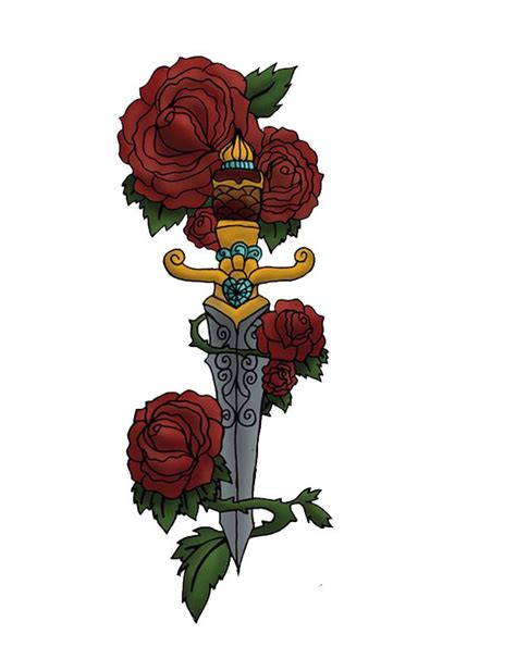 rose and sword tattoo and sword school design tattoos