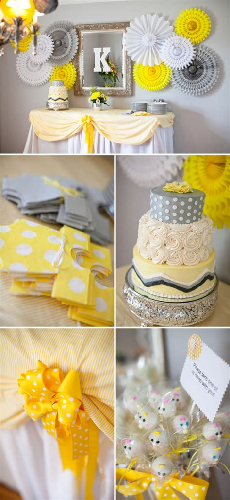 Yellow And White Baby Shower Ideas by Lovely Yellow Gray Baby Shower The Umbrella