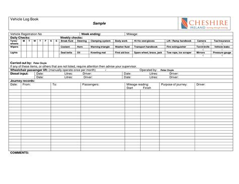 motor vehicle log book template best photos of vehicle log book vehicle log book