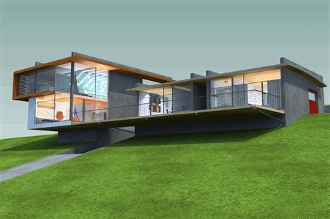 hillside house plans 3d design with field landscape
