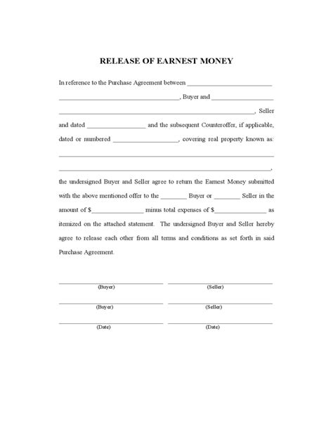 money agreement template earnest money contract form 3 free templates in pdf