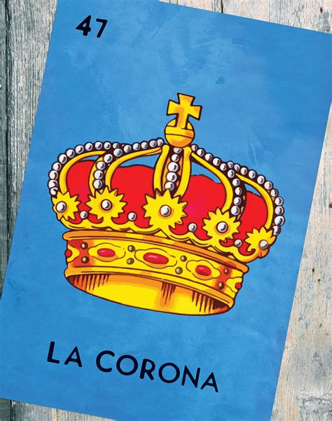 la corona loteria la corona mexican retro illustration large poster art print vintage giclee on satin or