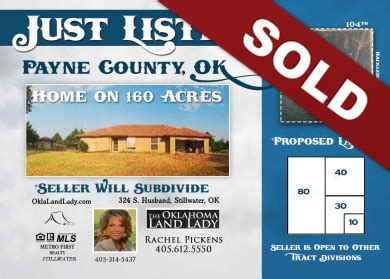 section 32 sale of land payne county oklahoma land for sale home 160 acres sold