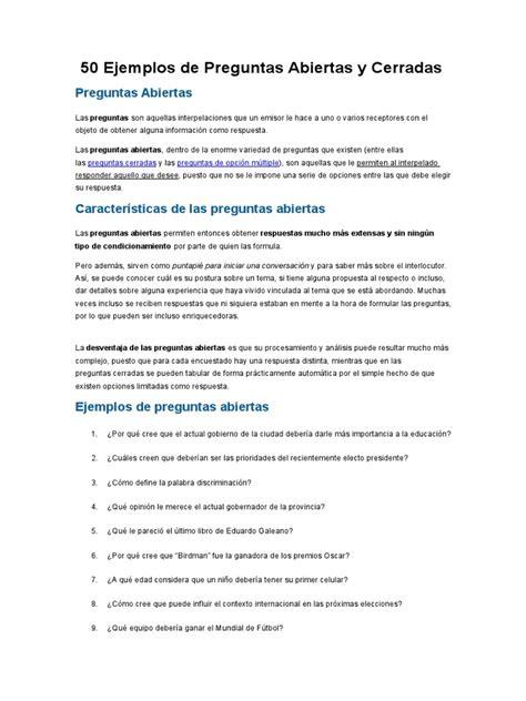 preguntas cerradas y abiertas pdf 50 ejemplos de preguntas abiertas y cerradas