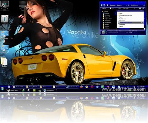 hot xp themes nice dark blue car sexy windows 7 babes theme hnzoom