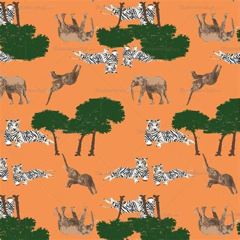 pattern illustrator tiger african tiger and elephant repeating pattern illustrator