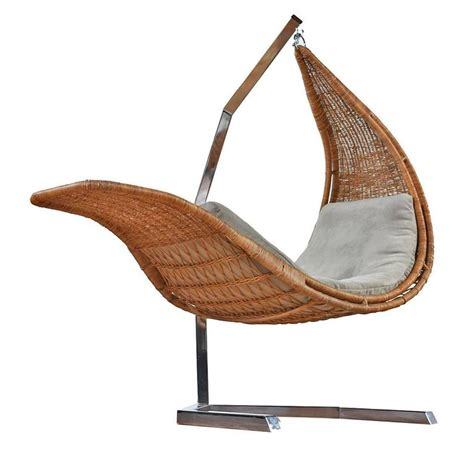 hanging chaise lounge chair studio created hanging wicker and chrome chaise at 1stdibs