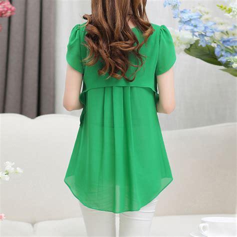 Womens Sweet White O Neck Print Blouse Murah fashion blouse chiffon sleeve o neck tops blouses