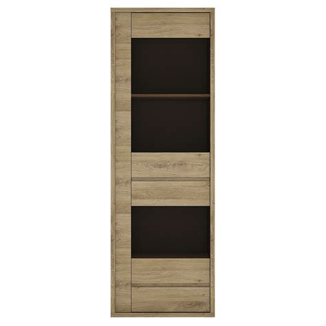 display cabinet with drawers shetland 1 door 1 narrow glazed display cabinet