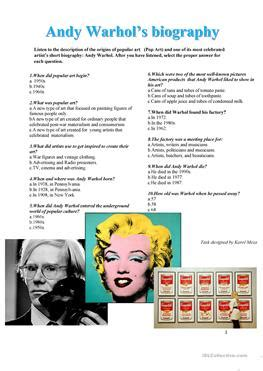 biography listening 5 free esl pop art worksheets