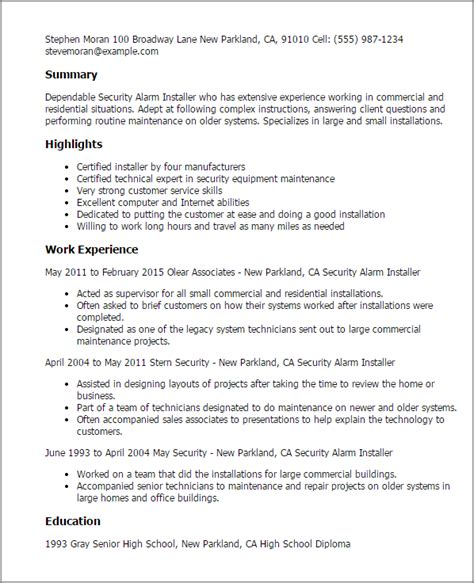 Systems Technician Cover Letter by Security Alarm Installer Resume Template Best Design Tips Myperfectresume
