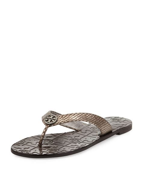 burch thora sandals burch thora leather snakeprint sandal pewter in