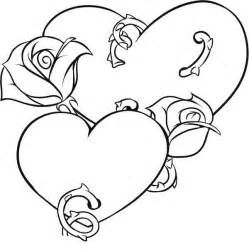 hearts roses colouring pages